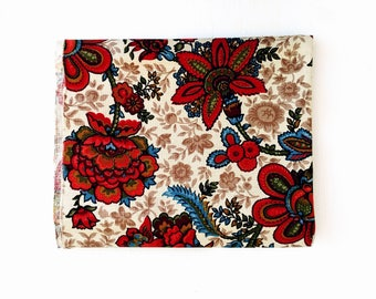 Vintage Floral Cotton Fabric Canvas Like Noticeable Weave Great Texture and Color