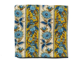 Fab Vintage Floral Curtain Panel Leftovers Lots to Use Odd Shapes Mustard Yellow Blues Earth Brown Avocado Green Natural