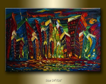 Cityscape Painting Original Modern City Series Oil on Canvas Palette Knife Textured Abstract  Art 24X36 by Willson Lau