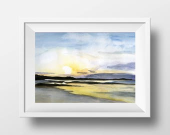Iona Island, Scotland, Scottish Highlands, sunsrise  - Original Watercolor Painting by C.Raven A4 / 8.3 x 11.7in