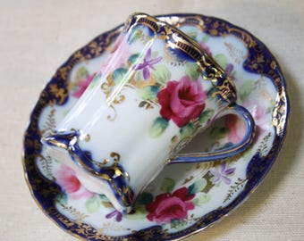 Demitasse Cup and Saucer Cobalt Blue Pink Purple Roses Gilt Trim Decorative Vintage Shabby Cottage Chic Home Decor