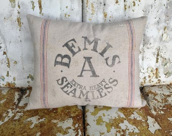 Farmhouse Original Bemis A Extra Heavy Seamless Printed Flour Sack Pillow Grain Sack / Rustic Farmhouse Country Cottage Throw Pillow