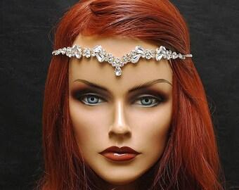 SALE Silver Boho Hair Chain, Wedding Headpiece, Crystal Circlet, Bridal Hair Vine, Bridal Headband, Diamante Headpiece, Halo Crown