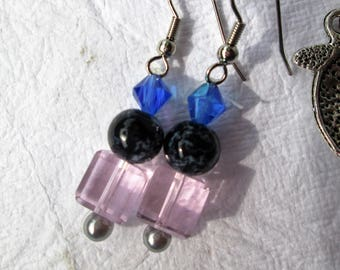Beaded earrings, glass and acrylic beads, french hook, pierced