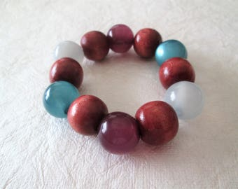 Beaded bracelet, acrylic and wood beads, colors as shown