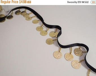 ON SALE Shiny Gold Color Metal Coin Fringe Trim on Black Ribbon--One Yard