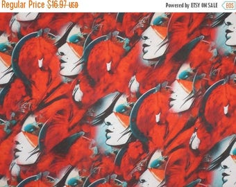 ON SALE SPECIAL--Stunning Faces on Red Art Print Polyester Charmeuse Fabric--One Yard