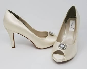 Ivory Wedding Shoes Ivory Bridal Shoes with a Sparkling Crystal Square Design -  Over 100 Colors To Pick From