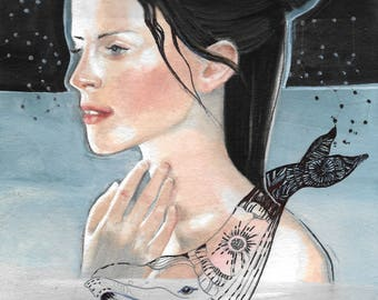 Girl and whale. Star constellation. Watercolor and ink illustration art work by Helga McLeod HM122