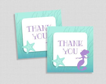 Mermaid Favor Tags, Aqua and Purple Thank You Tags, Under the Sea Shower Favor Tags, DIY Printable, INSTANT DOWNLOAD
