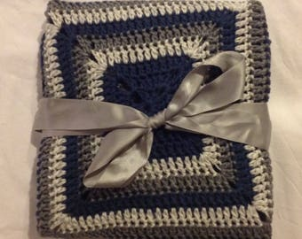Grey blue granny square 35 by 35 baby blanket afghan handmade crochet classic updated throw
