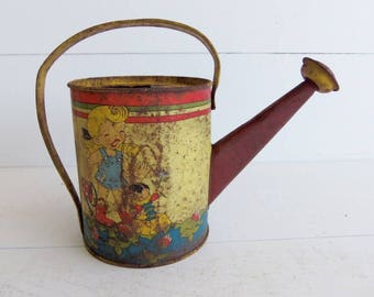 Vintage Ohio Art Toy Watering Can, Tin Lithographed, Elaine Hileman Artist Signed