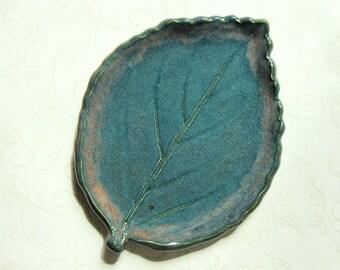 Soft Misty Teal Pottery Leaf Spoon Rest