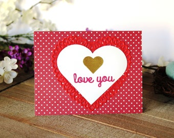 Handmade Valentine's Day Card, Red Hearts and White Polka Dots, Love You, Unique, One of a Kind, Free Shipping