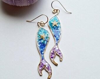 Small Mermaid Earrings, Mermaid Tail Earrings, Starfish Dangle, Mermaid Dangle, Tiny Mermaid Tail Dangle, Glitter Mermaid Earrings