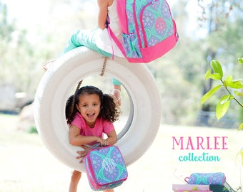 In Stock Ready to Ship Personalized Monogrammed Marlee Backpack and Lunch Bag Tote Box -- Free Monogramming-- FAST TURNAROUND