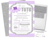 Tutu Baby Shower Invitations - Tutu Baby Shower Invites - Girls Baby Shower Invitations - Ballerina Baby Shower - Tutu Invite - Lavender