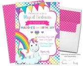 Unicorn Party Invitation, Unicorn Birthday Invitation, Unicorn Party Invite, Unicorn Invitation, Girls Birthday Invite, Girls Party Invite