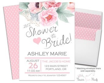 PINK + GRAY Bridal Shower Invitations - Floral Bridal Shower Invitations - Shower The Bride Invites - Bridal Shower Invites - Bridal Invite
