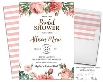 Floral Bridal Shower Invitation - Spring Bridal Shower - Bridal Luncheon - Bridal Brunch - Bridal Tea - Wedding Rehearsal - Rehearsal Dinner