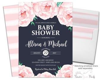 Couples Baby Shower Invite - Coed Baby Shower Invitation - Couples Shower Invitation - Shabby Chic Baby Shower - Baby Girl - Baby Boy