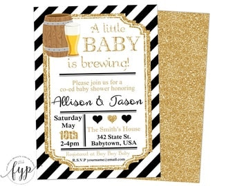 Coed Baby Shower Invitation, Baby Brewing Invitations, Gender Neutral Baby Shower, Baby Brewing Invite, Gold Glitter, Couples Shower