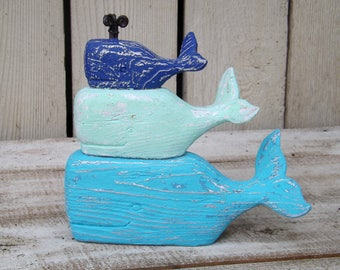 Whale Decor~Nautical~Stacked Wood Whales~Sea Glass Colors~Beach~Coastal