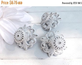 ON SALE White Shabby Chic Cast Iron Knob / Cottage Style / Drawer Knob /Dresser Pull /Decorative Knob