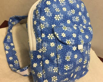 18 Inch Doll Backpack/Build A Bear Backpack/Blue Floral Backpack/Gift Card Holder/Doll School Bag/Doll School Supplies