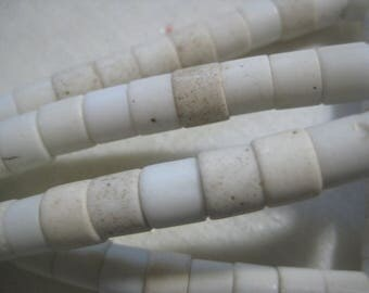 African Trade Beads, Masai White Glass Tile Tubes/Spacers, Large 2mm Hole, Handmade in Kenya, 7x6mm, 100 beads, 24 Inch strand