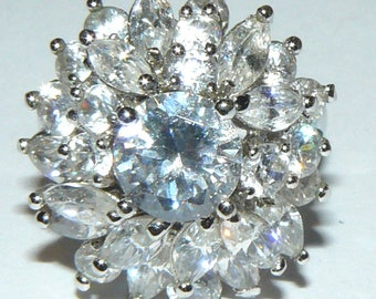 Vintage Sterling Silver Crystal Rhinestone Ring Size 8