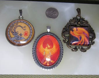 Phoenix Rising Pendant With Optional Matching Chain 3 Versions