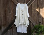 linen tunic jumper pinafore smock  with vintage appliques ready to ship