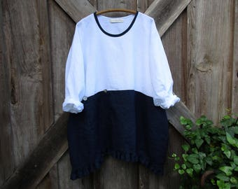 RESERVE FOR V A linen top tunic in white and navy with pocket and ruffle ready to ship