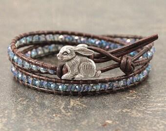 Silver Blue Bunny Bracelet Crystal and Leather Bunny Jewelry Sparkling Rabbit Jewelry Colorful Rabbit Bracelet