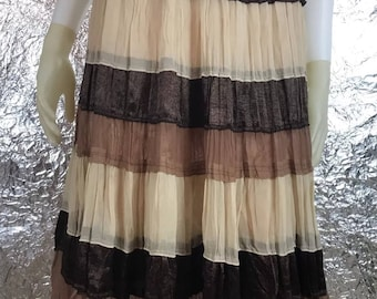 Vintage 1990's Brown and Beige Tiered Bohemian Skirt  M