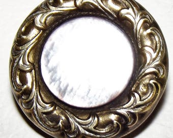 Antique Button ~ Metal Button Pearl Center ~ Old Button ~  Pearl Button