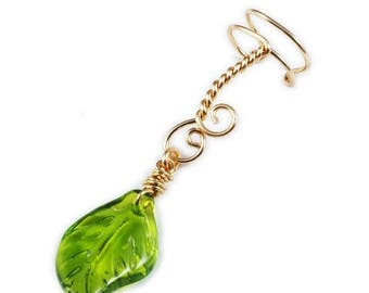 SALE - Gold Ear Cuff with Green Glass Leaf Charm - Left or Right Ear