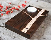 Moonlit Birch Tree - Wood Tealight Candle Holder - Rustic Home Decor - Forest