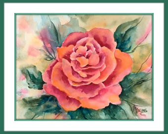 Watercolor Rose Red Peach by Martha Kisling Art With Heart