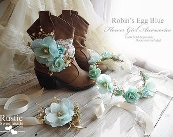 Robin's Egg Blue ~ Flower Girl Accessories ~ Boot Band ~ Flower Crown ~ Wrist Corsage. Ready to ship, arrives to you in 3 days priority mail