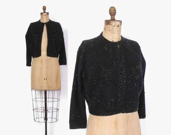 Vintage 60s BEADED CARDIGAN / 1950s Black Lambswool Heavily Beaded Gene Shelly's  Cardi Sweater M - L