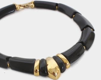 Vintage NAPIER Necklace / 1980s Bold Runway Black & Gold Graduated Statement Necklace