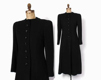 Vintage 40s Princess COAT / 1940s Black Wool Fit and Flare Winter Coat M