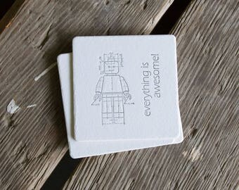 Minifigure Coasters, charcoal ink (Letterpress printed, 3.5 inches) set of 4, perfect gift