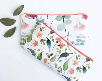 Eucalyptus Pencil Pouch, Australia Flower Cosmetic Bag, Woodland Personalized Makeup Bag, Floral Zipper Pouch, Travel Gift
