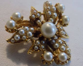 Antique Art Nouveau pearl encrusted flower brooch, retro brooch, vintage floral brooch, antique jewelry