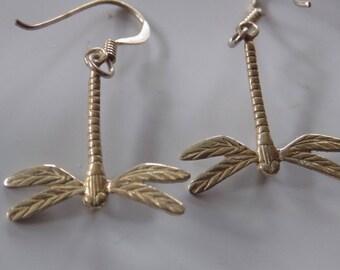 Vintage sterling silver detailed dragonfly dangle drop earrings,925 jewelry