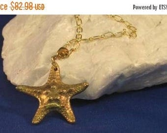 Summer time Sale Event Bronze Starfish pendant in PMC Bronze clay