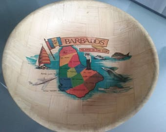 Barbados Souvenir Snack Bowl, Vintage Serving Bowl, Travel, Vacation Souvenir, Tropical Island, Map of Barbados, Island in the Sun